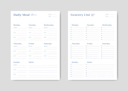 Meal menu schedule planner and shopping grocery list with checklist for print template simple design Illustration