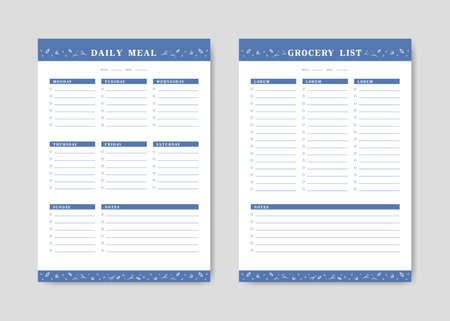 Meal menu planner and shopping grocery list with checklist for print template with monoline plant flower decoration