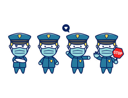 Cute police officer mascot character in chibi style with face mask protection from covid coronavirus disease pandemic flu