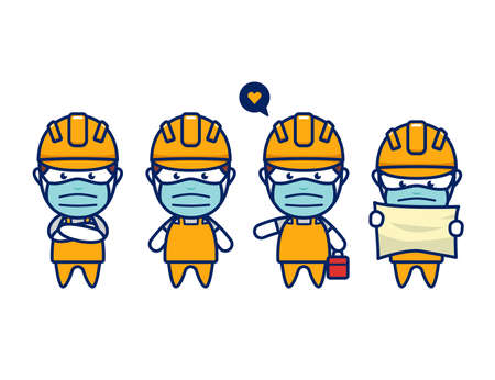 construction worker with face mask protection from virus in cute chibi style