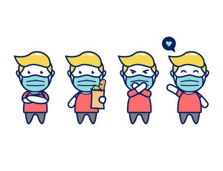 cute male character man shopping wear face mask cartoon chibi style
