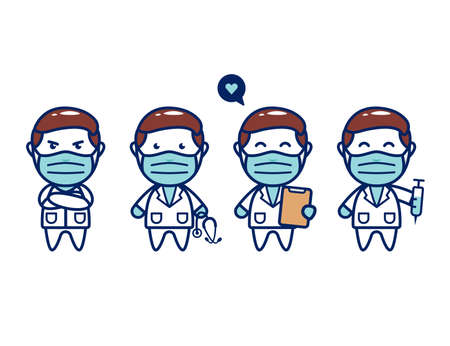 Cute medical doctor character chibi with face mask Illustration