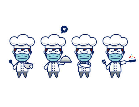 Cute chef character with face mask and chef hat in chibi style vector mascot pose set