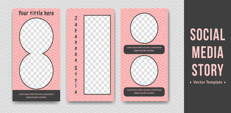 Editable social media  story template with japanese traditional wave pattern vector template social media banner