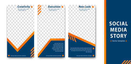 editable  social media story template blue orange corporate style company branding simple cover banner Illustration