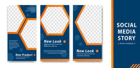 editable  social media story template blue orange with hexagon decoration corporate style company branding simple cover banner