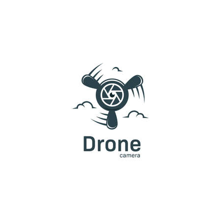 Drone Camera logo with lens icon and plane propeller logo for aerial videography and photography studio agency Logo