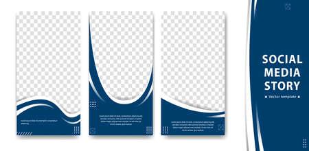 Editable creative social media  story design vector template curve blue white simple trendy style
