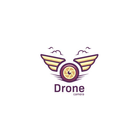 Aerial Photography drone camera logo with wing in cartoon bold stye