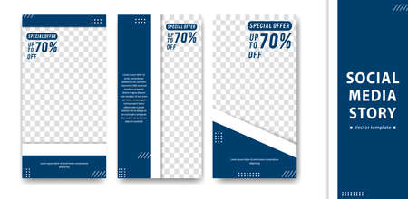Editable creative social media  story design vector template blue white simple trendy style Illustration