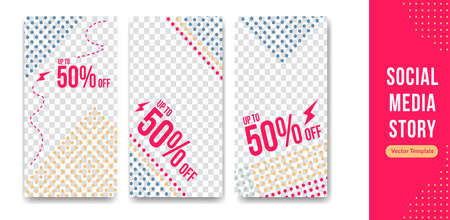 Editable social media story template trendy colorful with dot halftone style for discount and promotion event