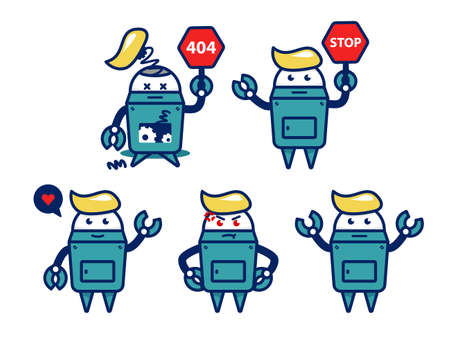 cute retro robot vector cartoon character pose set with broken 404 not found and stop sign 일러스트