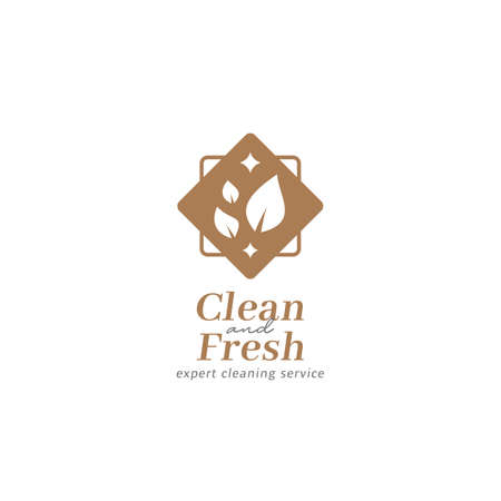 Cleaning service clean and fresh logo icon with nature leaf and shining vector symbol 일러스트