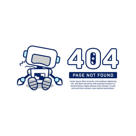 404 page not found vector broken robot illustration for unavailable page website design