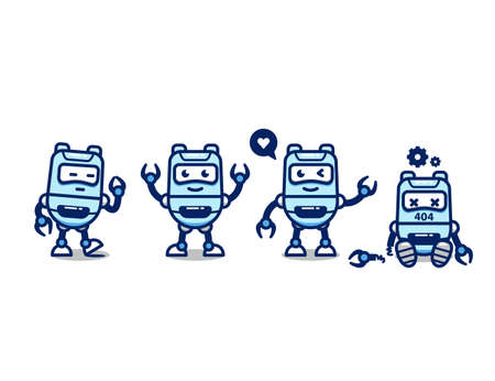Set cute robot AI vector character cartoon mascot pose