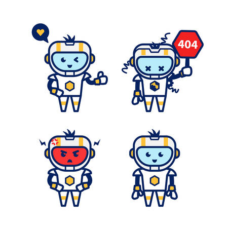 Cute modern futuristic robot smart AI humanoid cartoon character vector design