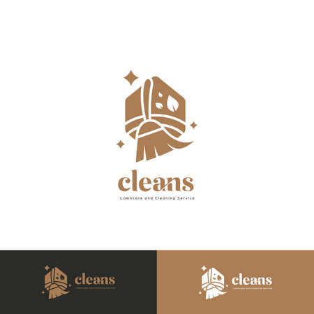 premium cleaning service logo badge with brush broom icon in luxury bronze color style