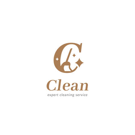 Letter C cleaning service maid logo symbol with broom brush and logotype C icon in elegant premium luxury style