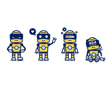 Cute yellow retro robot AI vector cartoon character mascot pose set