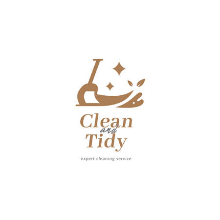 Cleaning service maid logo with shining broom brush icon, expert cleaning laundry, washing, and lawn care service logo for residential and commercial client