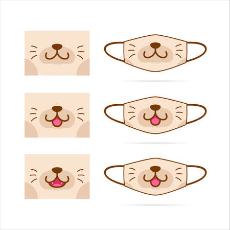 Face mask design set with cute brown cat dog pet animal mouth face graphic illustration