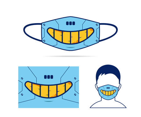 Cloth face mask design with creepy evil smile of robot cyborg cyberpunk mouth illustration 일러스트