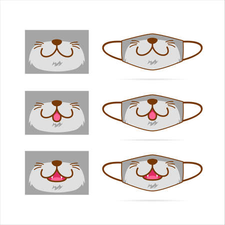 Face mask design set with cute gray cat dog wolf pet animal mouth face graphic illustration