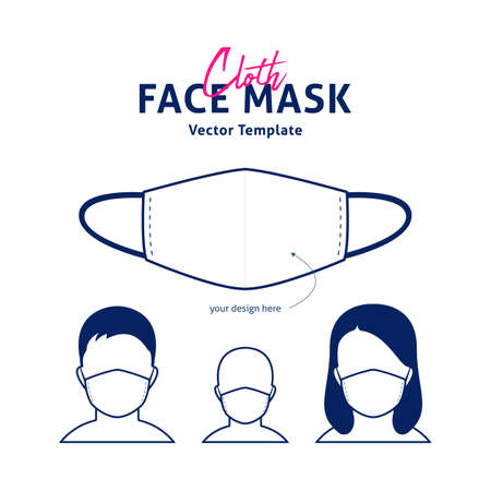 Cloth Face mask vector design template with male, female, and kids mockup face preview 일러스트