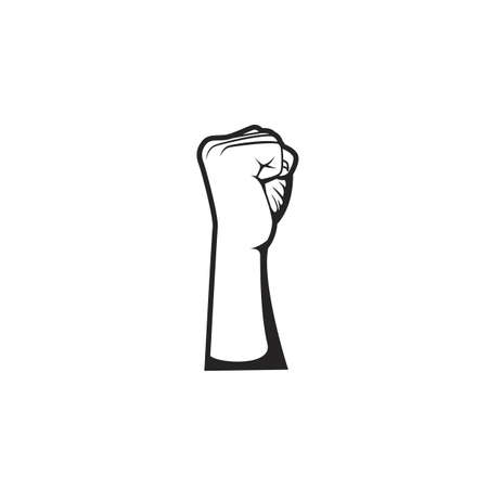 Vector fist hand revolution demonstration protestor fighter side view illustration 일러스트