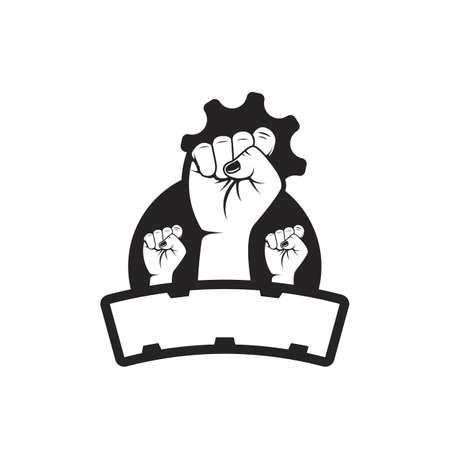 Vector fist hand revolution of people power logo badge illustration Illustration