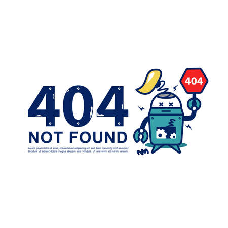 404 page not found vector with retro broken robot illustration for unavailable page website design
