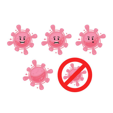 Pink funny cute virus bacteria microbe vector character mascot set include red no sign