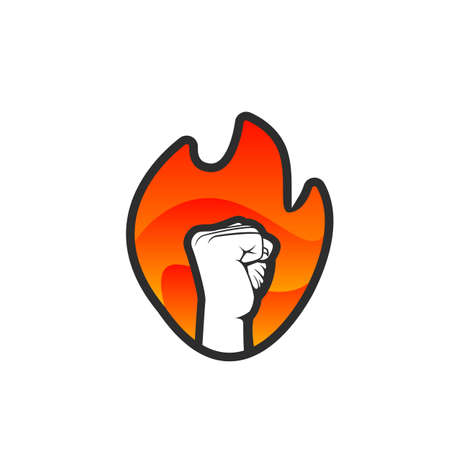 Hand fist flame fire spirit fighter vector logo icon badge