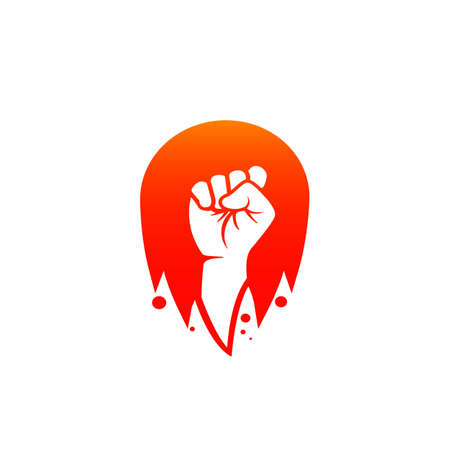 Fighter hand fist revolution vector logo inside flame fire ball badge icon illustration 일러스트