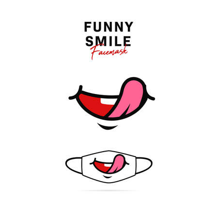 Face mask vector design with cute funny smile with tongue out delicious hungry expression smile cartoon illustration