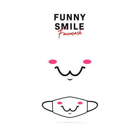 Face mask vector design with cute funny kawai smile cartoon illustration 스톡 콘텐츠 - 149501031