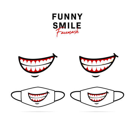 Face mask vector design with creepy open smile with teeth illustration