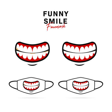 Face mask vector design with creepy funny big open mouth and teeth illustration 일러스트