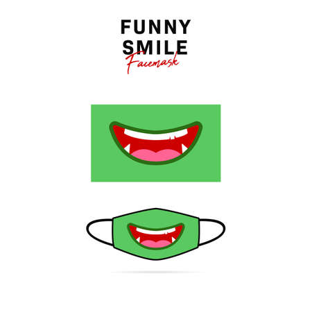 Funny face mask design with cute green orge goblin monster open big smile with sharp teeth vector illustration