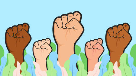Vector Multiracial race ethnic people raise hand fist illustration