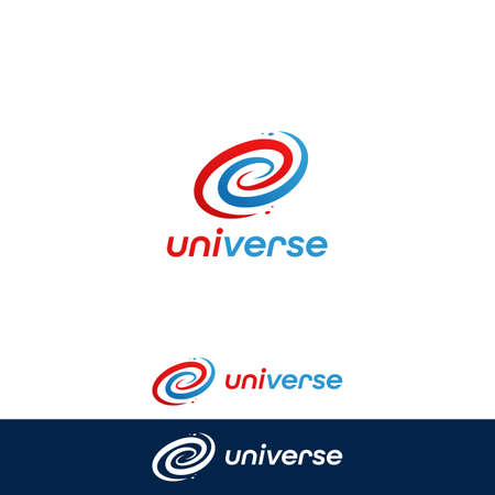 Universe galaxy pop color spiral logo icon symbol with fun blue red fushion color 일러스트