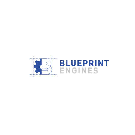 Blueprint engine machine logo with letter B and gear icon symbol