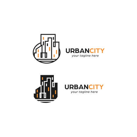 Urban downtown city monoline glyph logo icon symbol real estate 일러스트