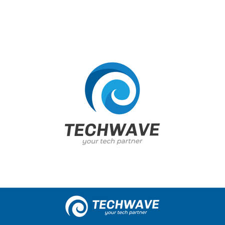 Spiral helix wave logo icon symbol for technology company
