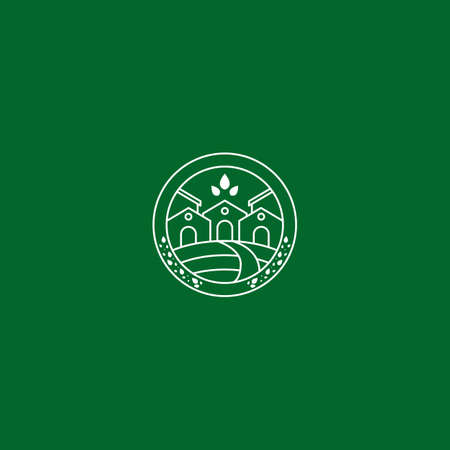 Green eco environtment friendly urban real estate house logo icon symbol badge in monoline line art style vector