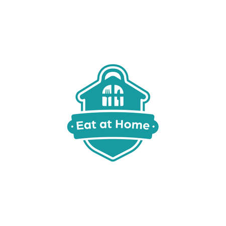 Eat at home kitchen catering restaurant homemade recipe logo badge emblem sticker vector