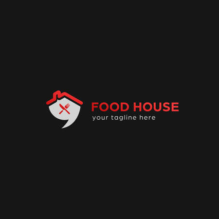 Food house catering restaurant bistro logo with house roof, bubble talk, knife and fork icon symbol