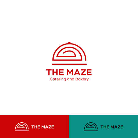 Food catering and bakery logo with cloche dome dish cover in maze shape vector icon symbol