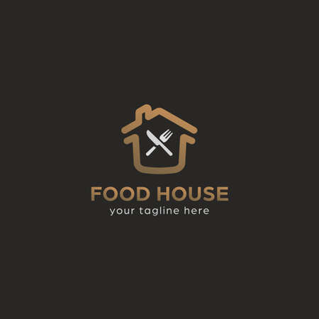 Premium food house logo with house home, fork and knife symbol in gold elegant premium style color