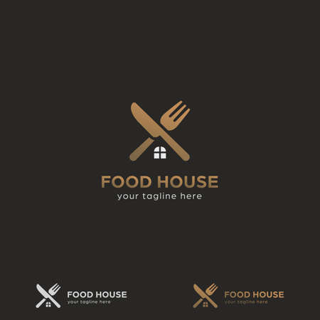 Premium gold food house home catering restaurant bistro logo with crossed knife and fork with home window icon symbol shape